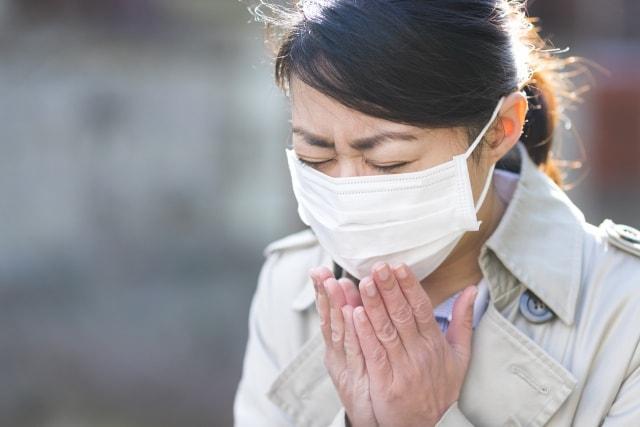 花粉でくしゃみをする女性